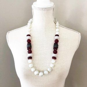 Vintage Monet Chunky Lucite Swirl Bead Necklace